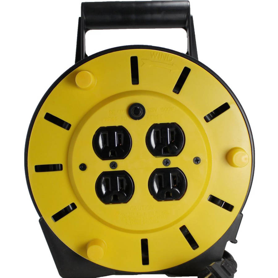 Extension-Cord Reel with 4-Outlets and Circuit Breaker 25'