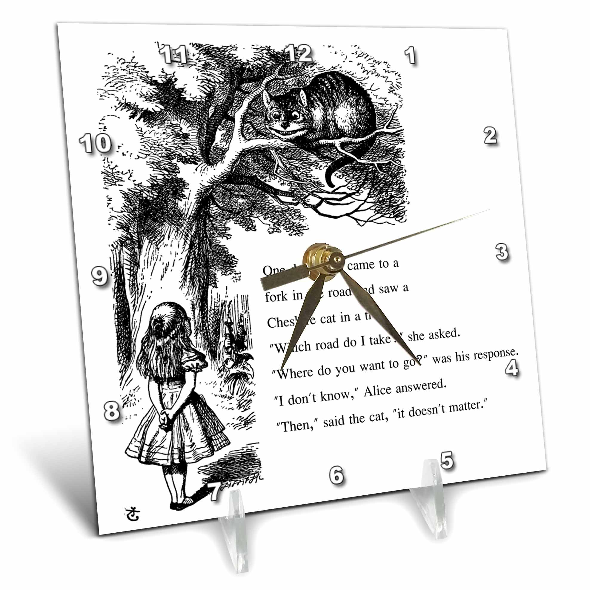 3dRose Which road do I take Cheshire cat Alice in Wonderland John Tenniel, Desk Clock, 6 by 6-inch by 3dRose