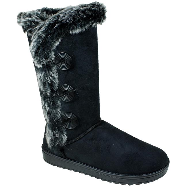 Babe 2010629 Womens Winter Boots with Buttons - Black - C...
