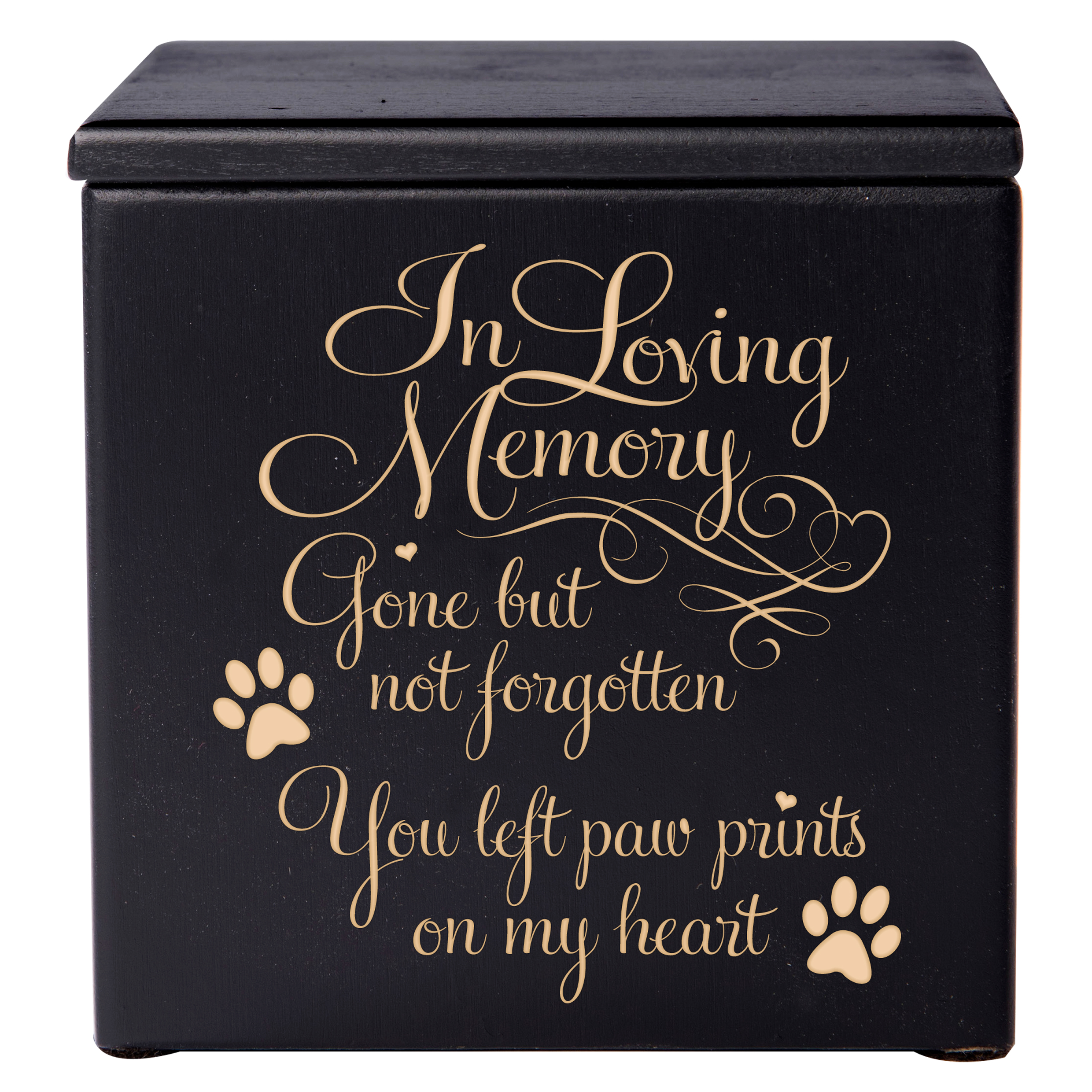 Pet Cremation Urn - In Loving Memory Gone But Not Forgotten You Left Pawprints On My Heart - Small (Black)