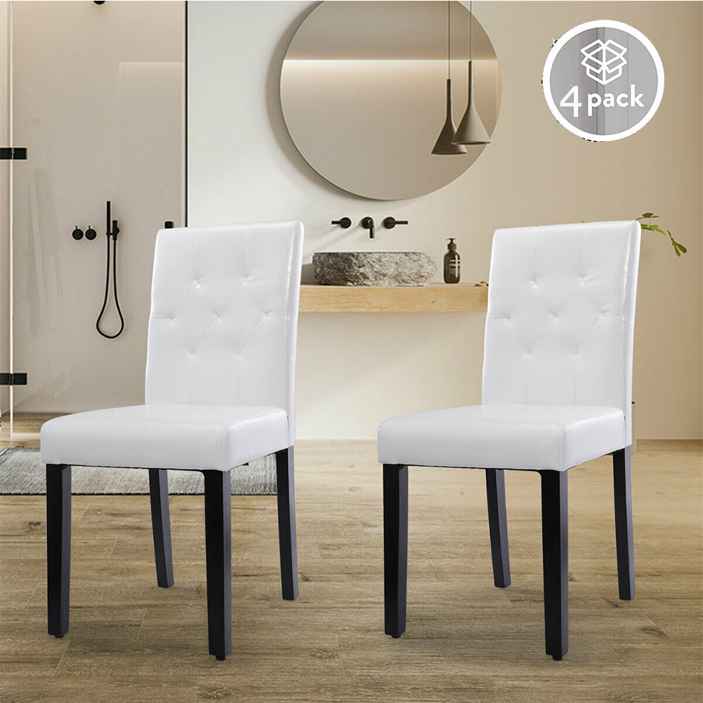 Lowestbest 4 Piece Dining Chairs, PU Leather Dining Room ...