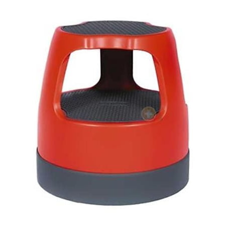 "Cramer Scooter Stool, Round, 15"", Step & Lock Wheels, to 300lb, Red"