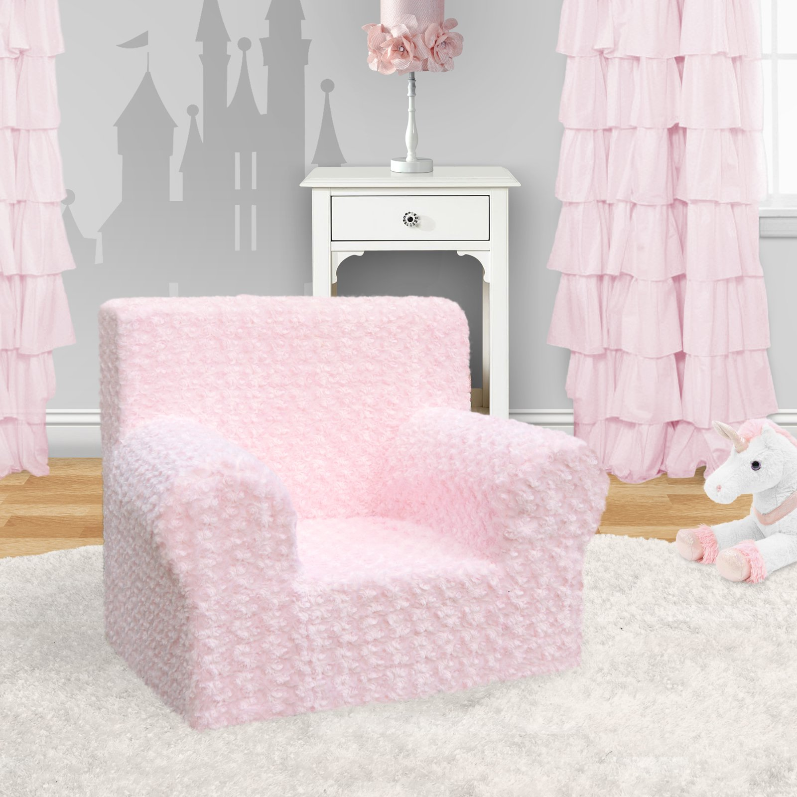 """Weston"""" Grab-n-go Kid's Foam Chair with handle - Rose Cuddle Pink"""