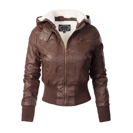 Made by Olivia Women's Faux Leather Detachable Hood Sherpa Lining Bomber Jacket Coffee (Womens Brown Leather Bomber Jacket With Hood)