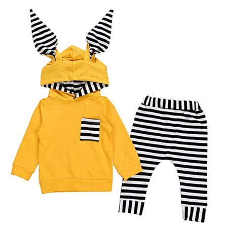 Cute Newborn Infant Baby Boy Girl Outfits Clothes Long Sleeve Hoodies Top with Rabbit Ears Hat+ Striped Pants - Jessica Rabbit Outfit