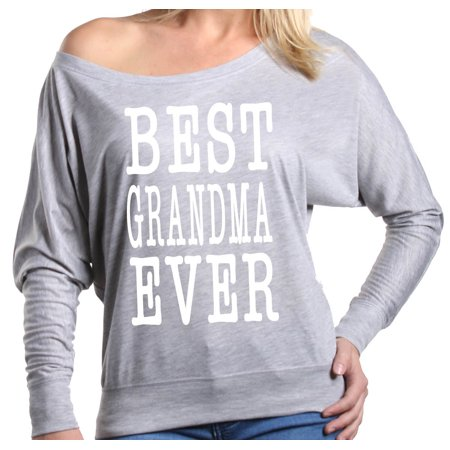 Shop4Ever Women's Best Grandma Ever Grandparent Off Shoulder Long Sleeve
