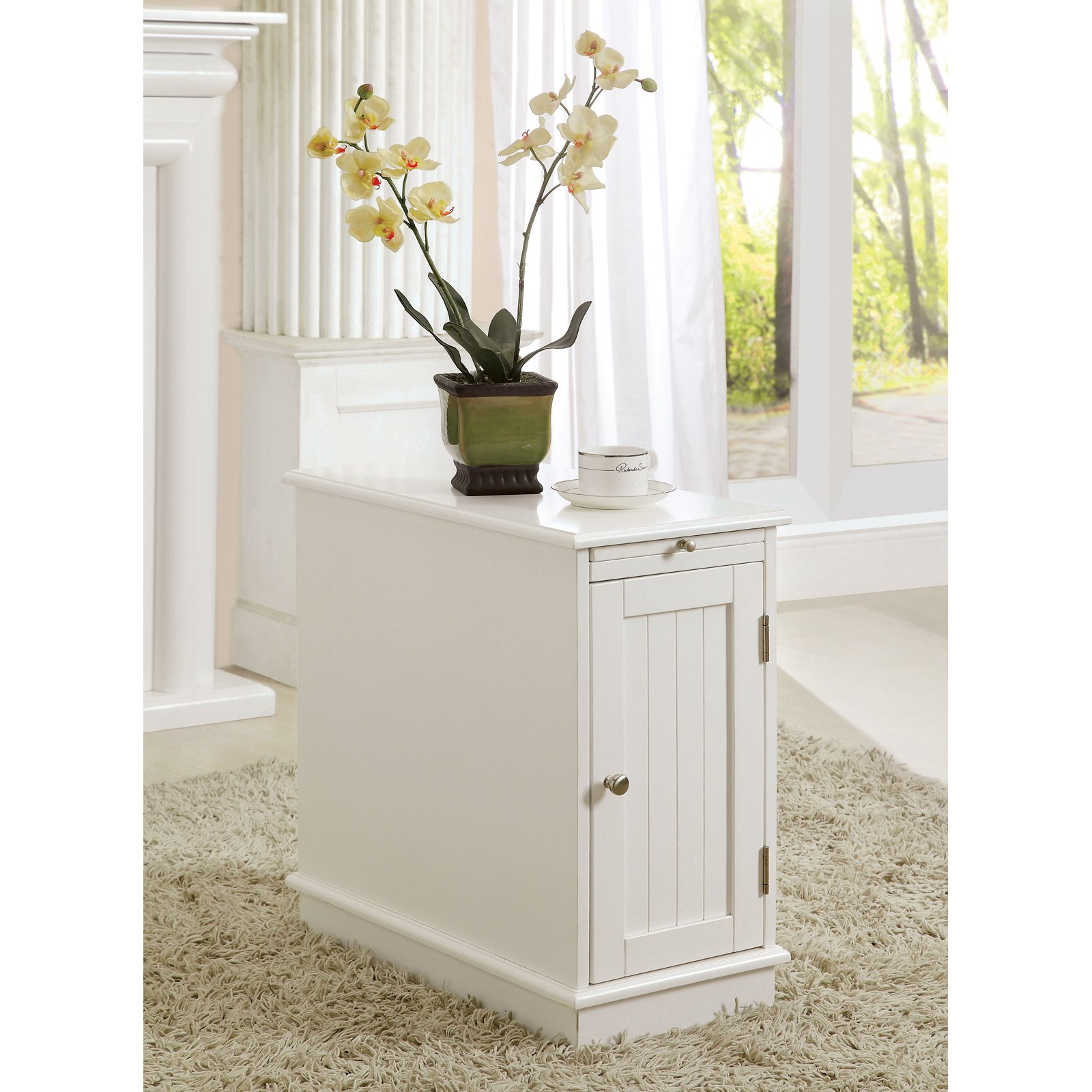 Furniture of America Martine Side Accent Table with Beverage Tray White by Enitial Lab
