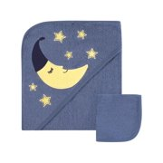 Hudson Baby Boy and Girl Woven Hooded Towel with Washcloth, Moon