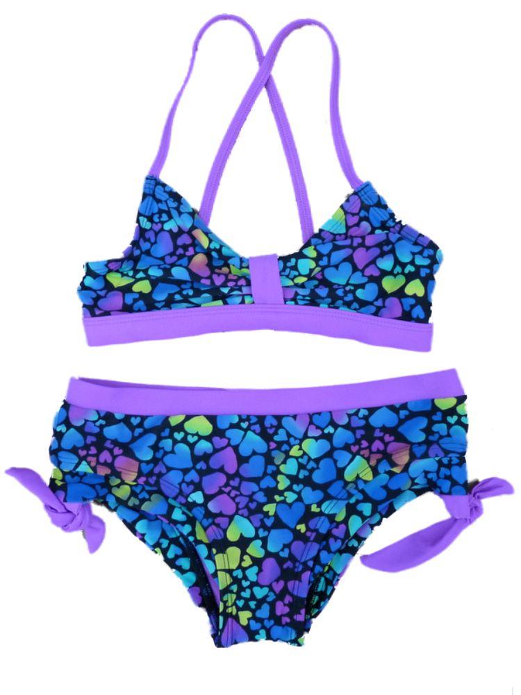 Joe Boxer Girl Purple Heart Print Swimming Suit Swim Bikini Bathing Suit 2 PC