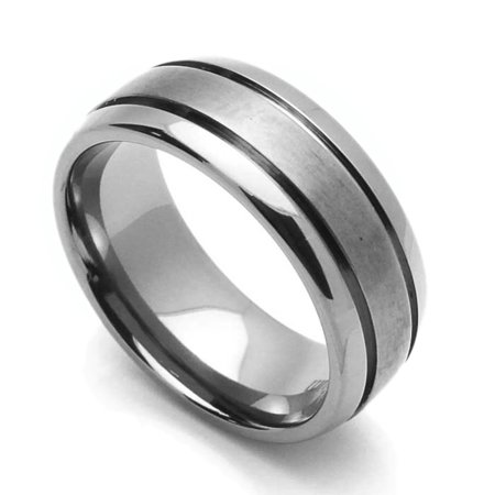 Men Women 8MM Comfort Fit Titanium Wedding Band Beveled Edges Grooved Ring (Size 7 to