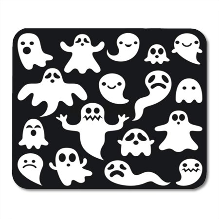 LADDKE Cartoon Scary White Ghosts on Halloween Celebration Cute Haunted Mousepad Mouse Pad Mouse Mat 9x10 inch - Halloween Cartoons Scary