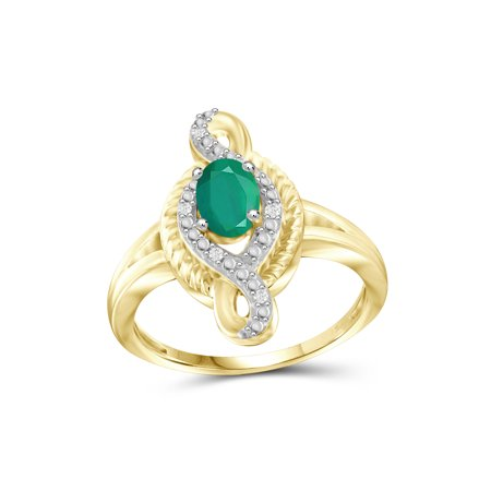 JewelersClub 3/4 Carat T.G.W. Emerald And White Diamond Accent 14k Gold Over Silver Ring