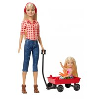 Sweet Orchard Farm Playset, Barbie Doll and Chelsea Doll, with Red Wagon and Carrots