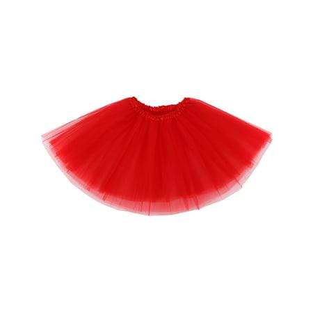 Adult Classic 3-layered Tulle Tutu Ballet Skirts Ruffle Pettiskirt, Red (Pettiskirt Adult)