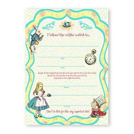 Alice In Wonderland LARGE Invitations - 10 Invitations + 10 Envelopes - Winter Onederland Invitations