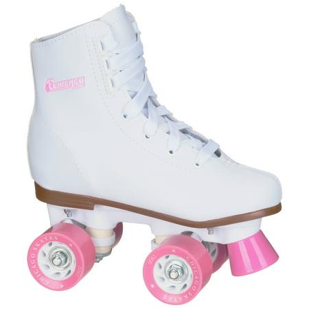 Chicago Girls Classic Quad Roller Skates White Junior Rink Skates, Size J12