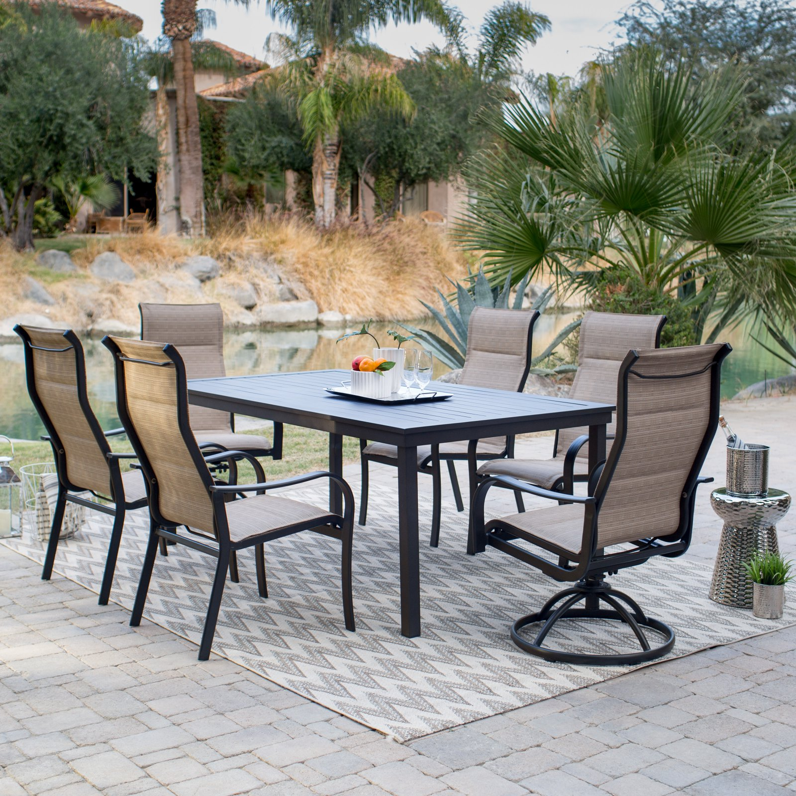 Coral Coast Wimberley Deluxe Padded Sling Aluminum 7 Piece Patio Dining Set