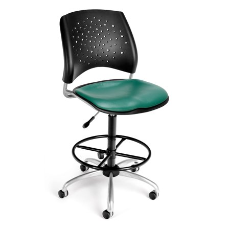 OFM Stars Series Model 326-VAM-DK Anti-Microbial/Anti-Bacterial Vinyl Armless Swivel Task Chair with Drafting Kit, Teal ()