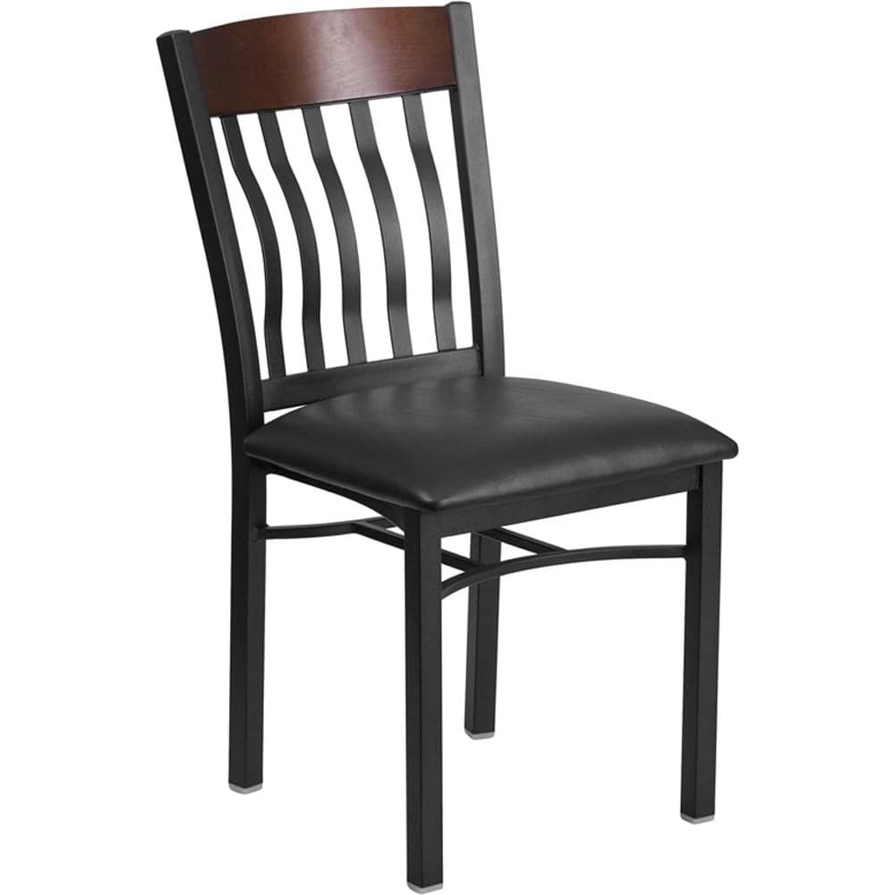 Offex  Eclipse Series Vertical Back Black Metal and Walnut Wood Restaurant Chair with Black Vinyl Seat - N/A