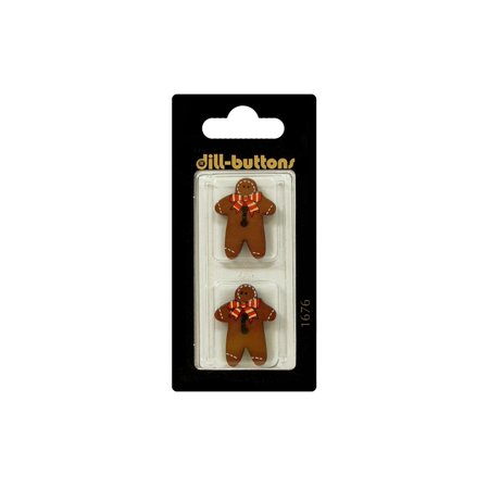 Many Buttons (Dill Buttons 25mm 2pc 2 Hole Gingerbread Man Brn)