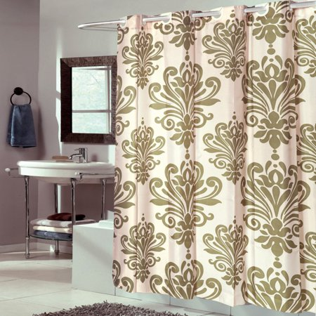 Sweet Home Collection EZ On Beacon Hill Fleur De Lis Hookless Fabric 2-in-1 Shower Curtain and -