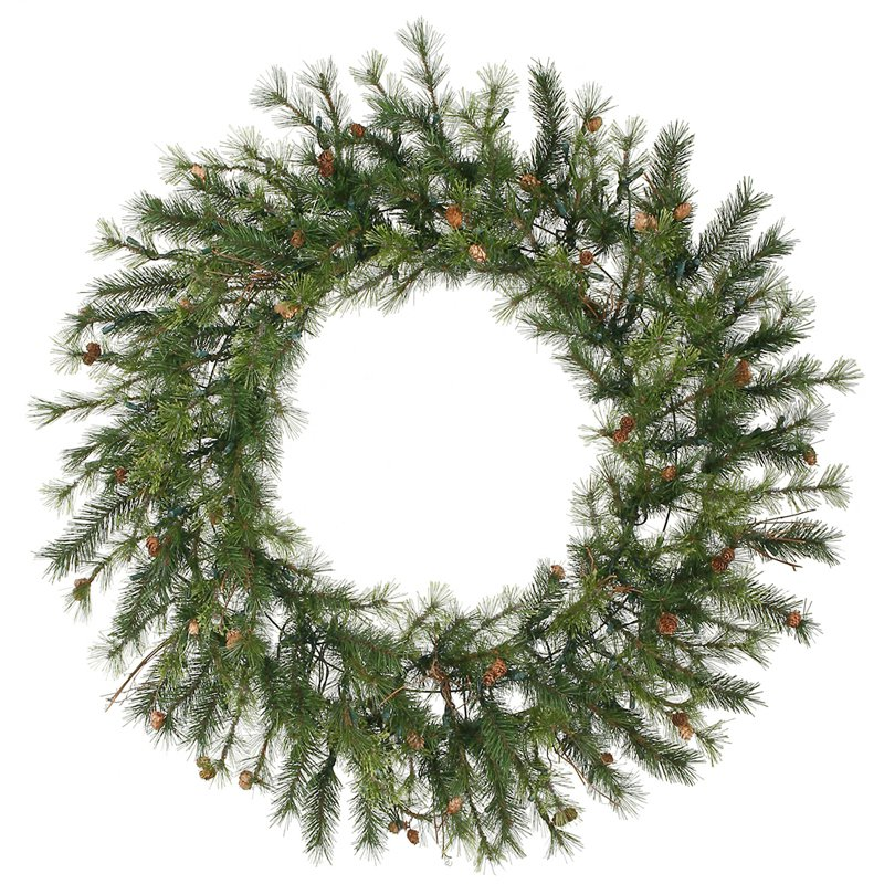 "Vickerman 06351 - 60"" Mixed Country Pine with Pine Cones and Grapevines Christmas Wreath (A801860)"