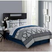 VCNY Home Beckham 6/8-Piece Damask Bed in a Bag Comforter Set, Sheet Set Included