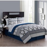 VCNY Home Beckham 6/8-Piece Damask Bed in a Bag Comforter Set, Sheet Set Included