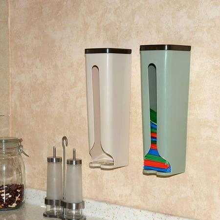 Home Kitchen Grocery Bag Dispenser Holder Wall Mount Storage Dispenser Plastic Kitchen Organizer Container ()