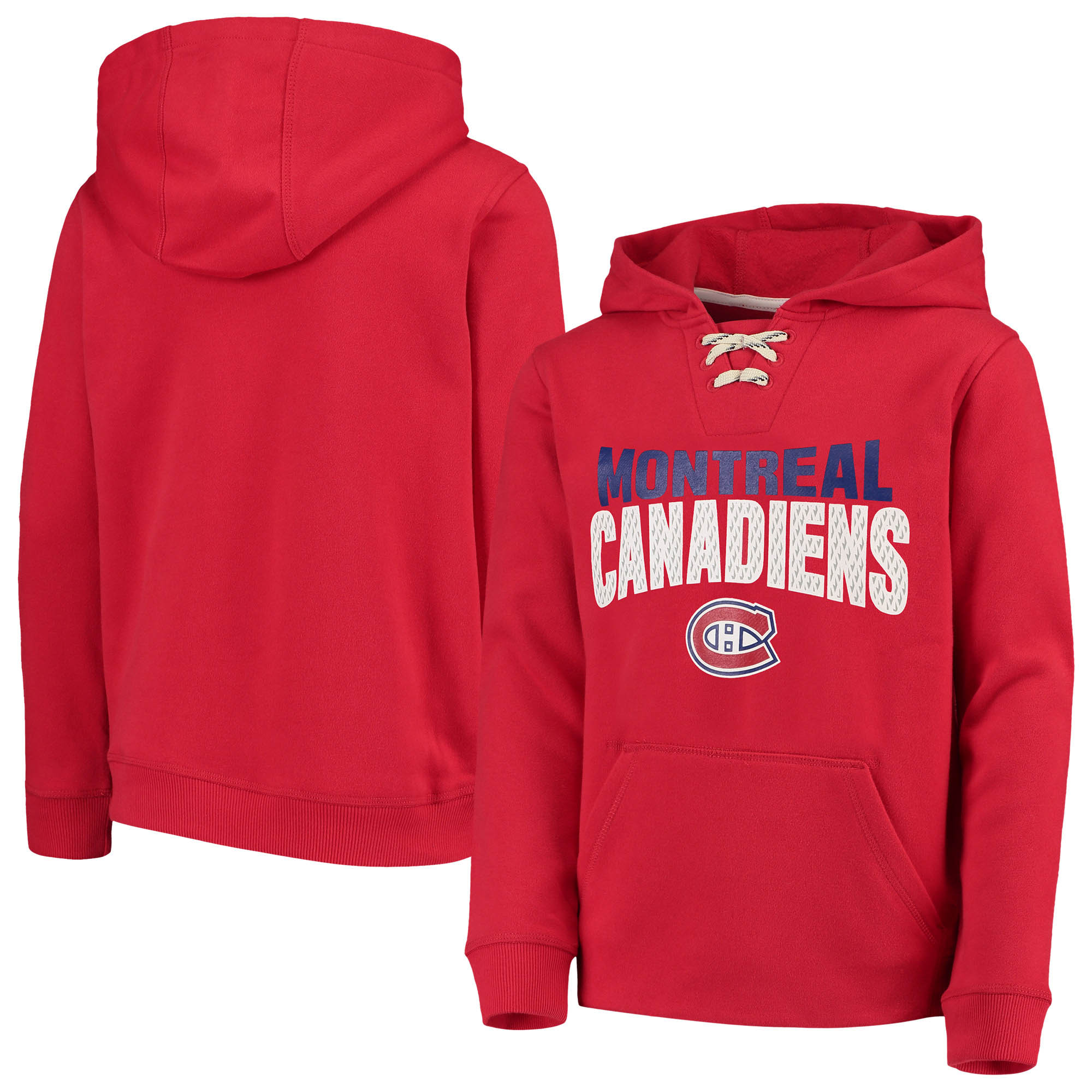 Montreal Canadiens Youth Off the Ice Lace-Up Pullover Hoodie - Red
