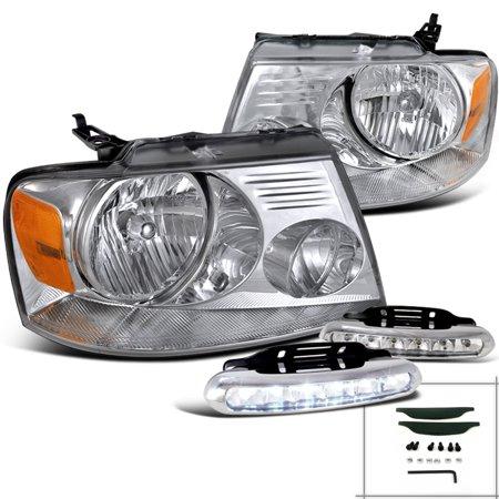 Spec-D Tuning 2004-2008 Ford F150 Xl Xlt Stx 2006-2008 Mark LT Crystal Headlightsled Bumper Fog Lamps Chrome (Left + Right) 2004 2005 2006 2007