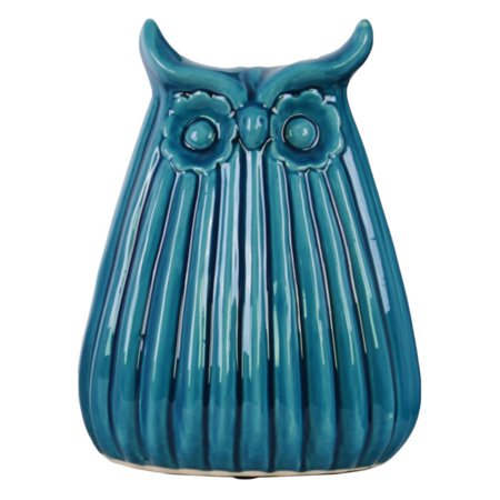 Urban Trends Collection: Ceramic Owl Figurine, Gloss Finish, Blue