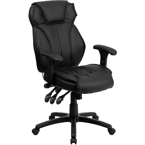 flash furniture high back leather executive office chair with triple paddle control black