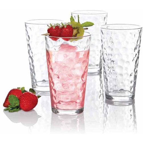 Gibson Home Cali Bubbles 16oz Glass Tumbler Set, 4pk