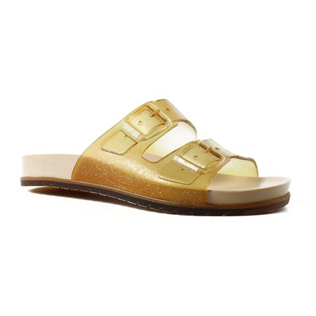 BC Footwear Womens Dimthelights ClearGlitter Slides Size 6