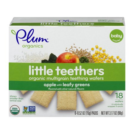 Organic Teether - (6 Boxes) Plum Organics Little Teethers Multigrain Baby Teething Wafers, Apple with Leafy Greens, 3.17oz