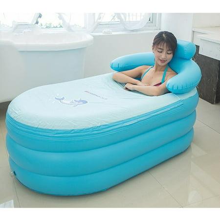 Image of Fashion Adult Inflatable Bath Tub, Portable Health Care Tub ,55.1x32.3x25.2inch Super Large PVC Bath Tub Bath Bucket ,with Air Pump (Blue bathtub, large)