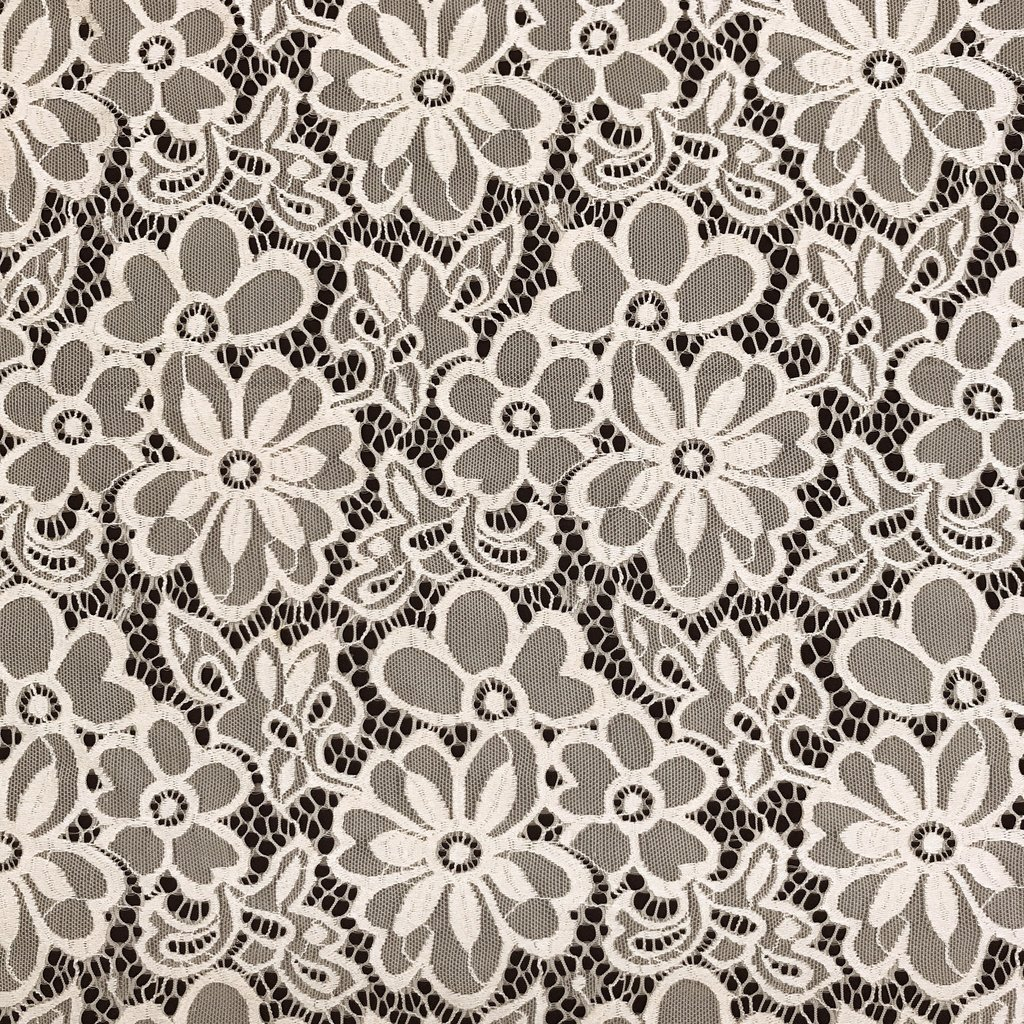"""Stretch Lace Fabric Embroidered Poly Spandex French Floral Florence 58"""" Wide by the yard (White)"""