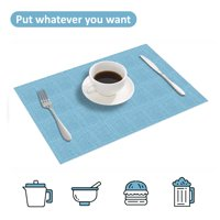 Howarmer Placemats, Washable Woven Vinyl Placemats, Heat-Resistant Placemats Stain Resistant Non-Slip PVC Table Mats, Dining Table Placemats Set of 4 ( 12x18 Inch, Blue )