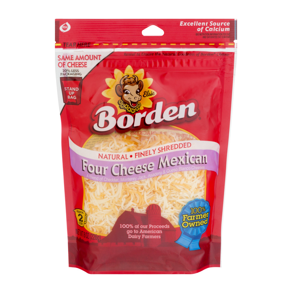 Borden Natural Finely Shredded Four Cheese Mexican, 8 oz