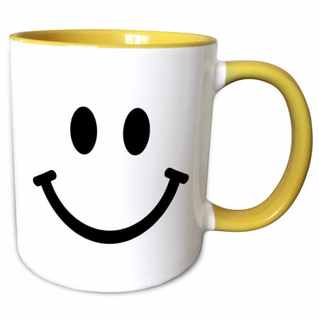 3dRose Smiley face square - black and white smile - happy smiling cartoon - cute smilies 60s sixties - Two Tone Yellow Mug, 15-ounce - White Smiling Face