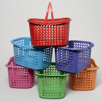 BASKET WITH FOLDING HANDLES 6 COLORS 289g IN PDQ, Case Pack of 36