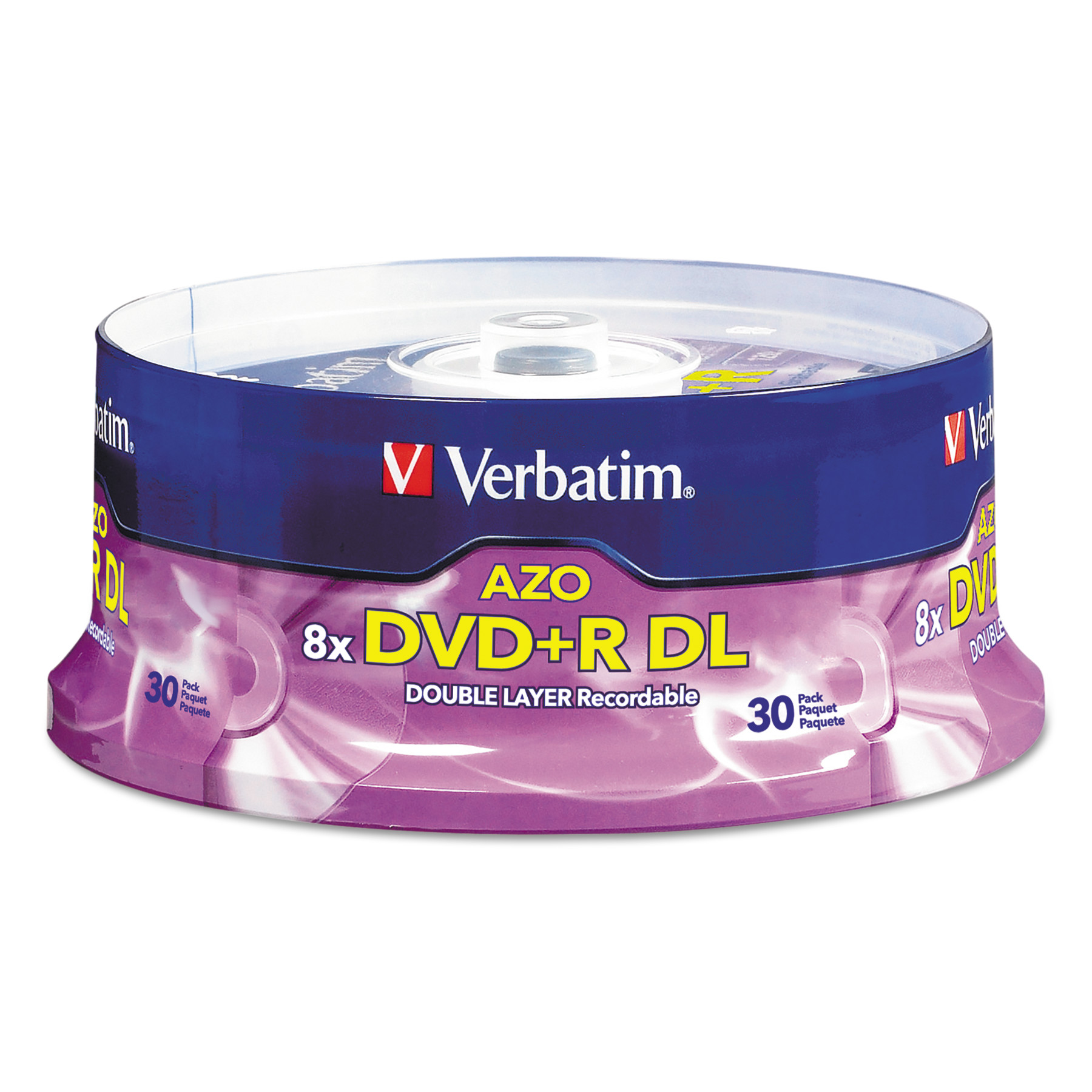 Verbatim Dual-Layer DVD+R Discs, 8.5GB, 8x, Spindle, 30/PK, Silver -VER96542