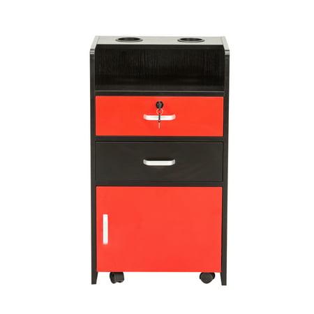 Barberpub Locking Rolling Beauty Salon Trolley Cart Hair Dryer Holder Stylist Equipment Drawer 2031