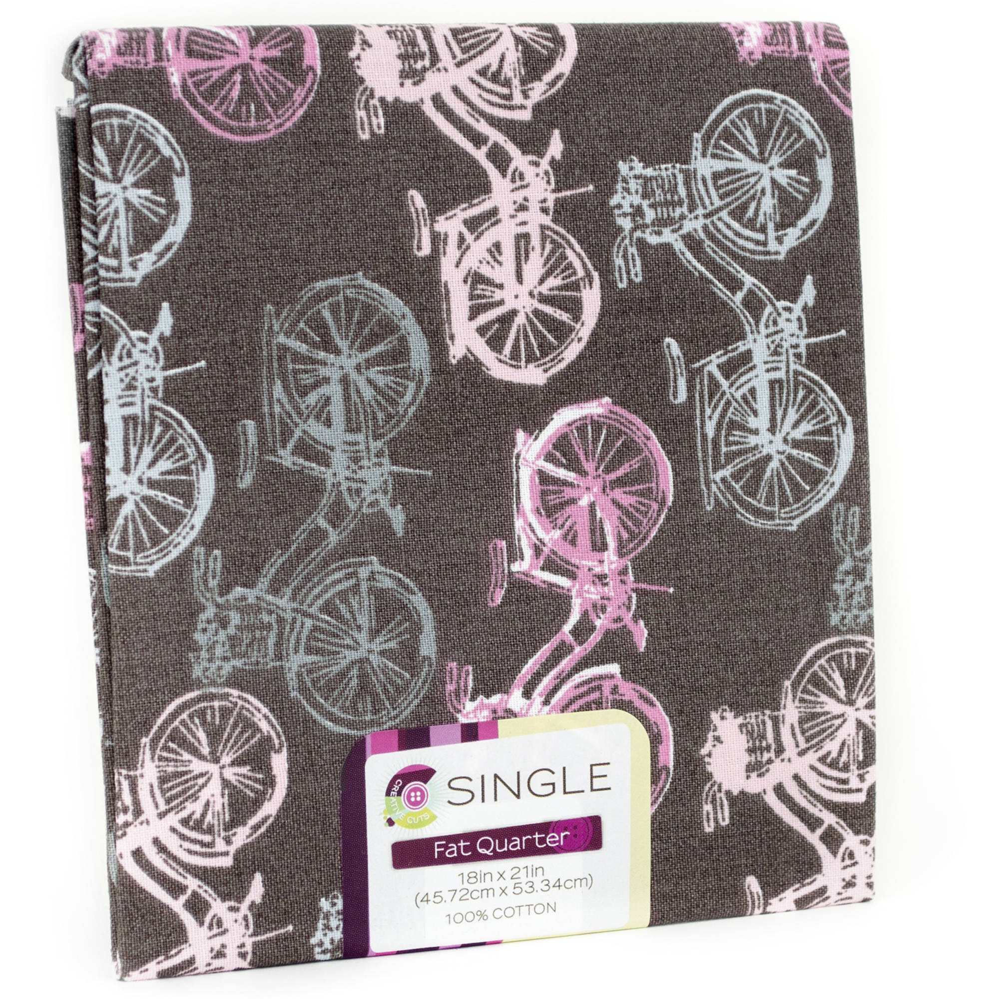 "Fabric Editions- Cotton Fabric, Fat Quarter, 18"" x 21"" BICYCLE BUBBLEGUM"