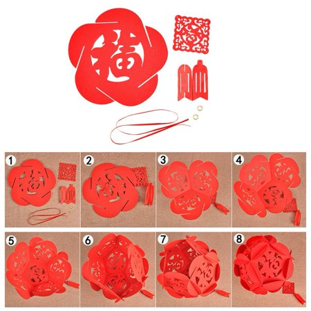 bright red flower ball pendant decoration hollow chinese pendant chinese happy new year supplies shop window