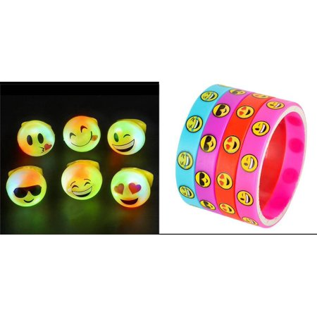 24 LED LIGHT UP FLASHING EMOJI RINGS EMOTICON JELLY RING + 24 EMOJI BRACELETS BUNDLE OF 48 PCS by, BUNDLE 24 EMOJI JELLY RINGS AND 24 SILICONE BRACELETS, 48 PCS TOTAL By DISCOUNT PARTY AND NOVELTY