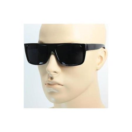 Mens Celebrity Eyewear Flat Top Rectangular Sunglasses Black Lens Frame (Top Eyewear)