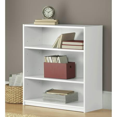 mainstays 31 3 shelf standard bookcase white. Black Bedroom Furniture Sets. Home Design Ideas