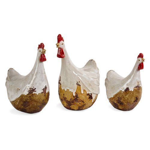 IMAX 12.5H in. White Antiqued Chickens - Set of 3